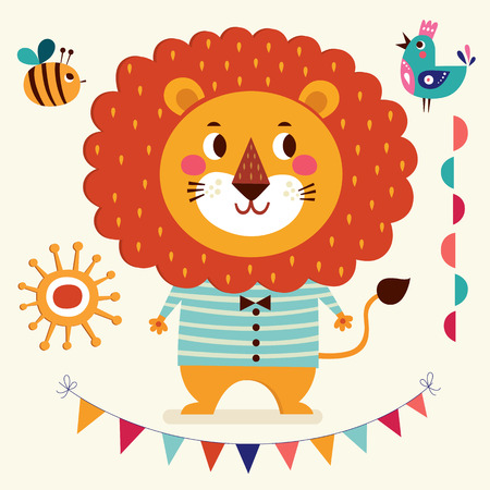 Vector illustration in cartoon naive style. Lovely cute lion. Baby birth card with lion boy