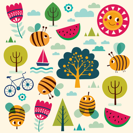 Summer vector pattern with bees and summer symbols: trees, sun, watermelon, bicycle.
