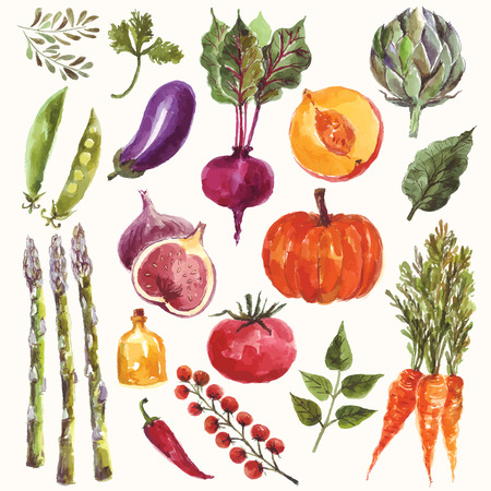 Vector watercolor set: vegetables and fruit