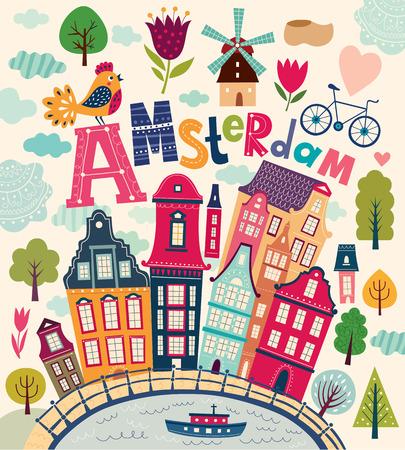 Fényes elegáns vektoros illusztráció Amsterdam szimbólumok rajzfilm stílusú. Hollandia vektor szimbólumok