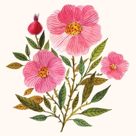 손 수채화 꽃 꽃다발을 그렸다.