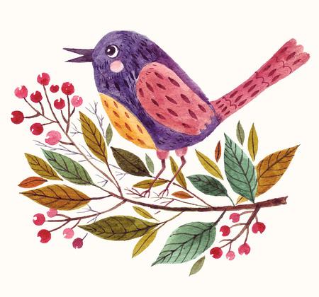 Kézzel festett imádnivaló madár ül egy ágon akvarell technikával.