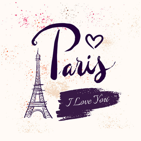 france painted: Paris. Vector hand drawn illustration with Eiffel tower. Illustration