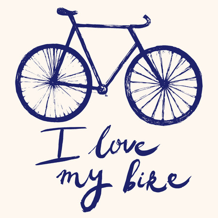 bicycle wheel: Hand drawn vector typography poster with bicycle. Illustration
