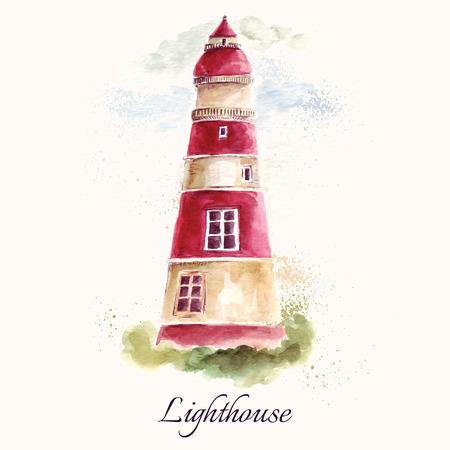 水彩画の手法で手描きのかわいい背景灯台。