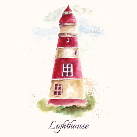 Hand drawn adorable vector lighthouse in watercolor technique. Ilustração