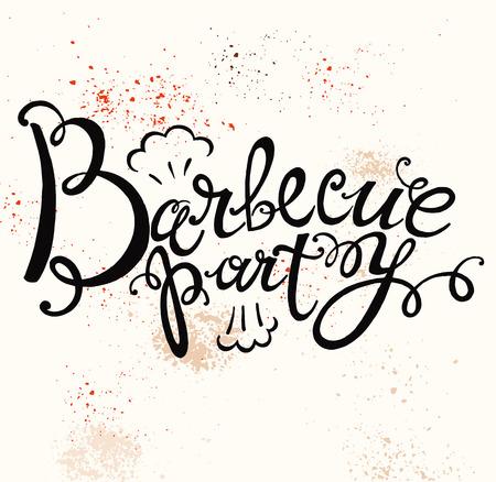 Hand belettering tekst voor barbecue partij logo
