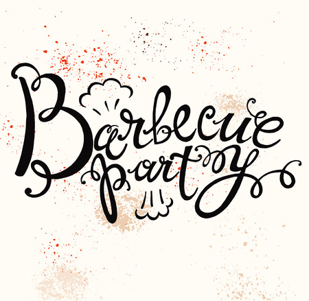 Hand lettering text for barbecue party logo