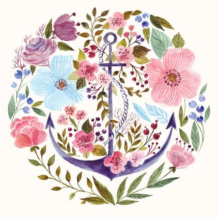 ancla: Dibujado a mano adorable ancla en la t�cnica de la acuarela en fondo de las flores