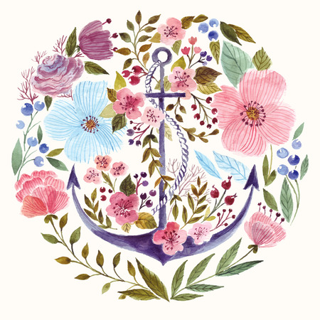 watercolor technique: Hand drawn adorable anchor in watercolor technique in flowers background