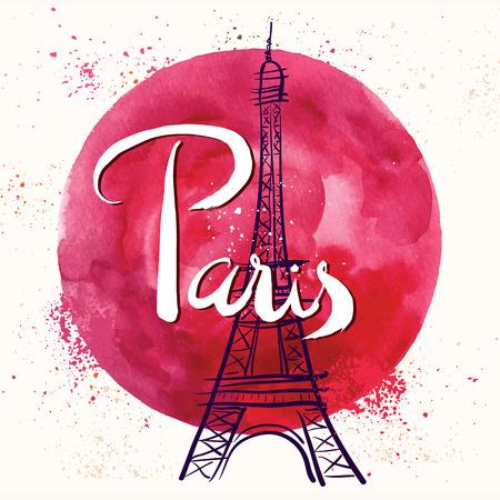 Paris. Vector hand drawn illustration with Eiffel tower. 向量圖像