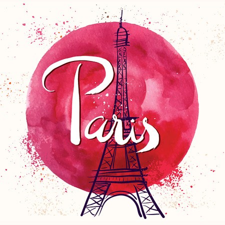 retro circles: Paris. Vector hand drawn illustration with Eiffel tower. Illustration