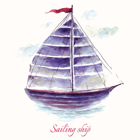 sailing: Hand drawn adorable vector sailboat in watercolor technique.