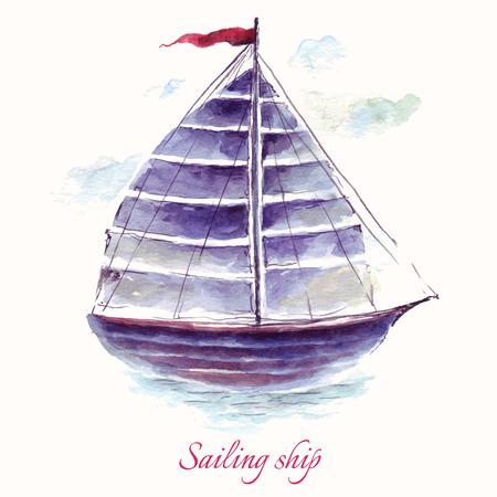 bateau voile: Tiré par la main adorable voilier de vecteur dans la technique de l'aquarelle. Illustration