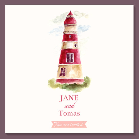 Wedding illustration with watercolor lighthouse