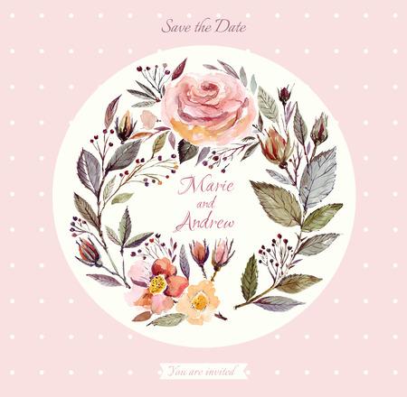 Wedding invitation template with watercolor floral wreath Banco de Imagens - 43206387