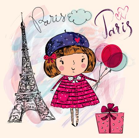 paris vintage: Niña en París. Ilustración drenada mano del vector con la torre Eiffel