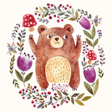 Ilustración vectorial: oso adorable en la técnica de la acuarela. Hermosa tarjeta con osito lindo.