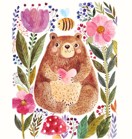 botanical: Vector illustration: adorable bear in watercolor technique. Beautiful card with cute little bear.