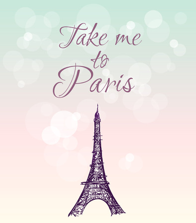 visit: ector hand drawn illustration with Eiffel tower