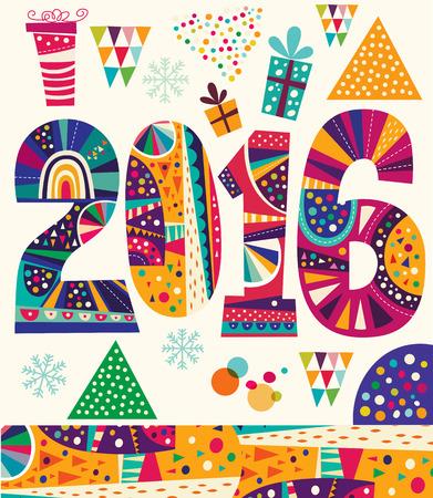 x mas parties: 2016 New Year. Vector greeting card Illustration