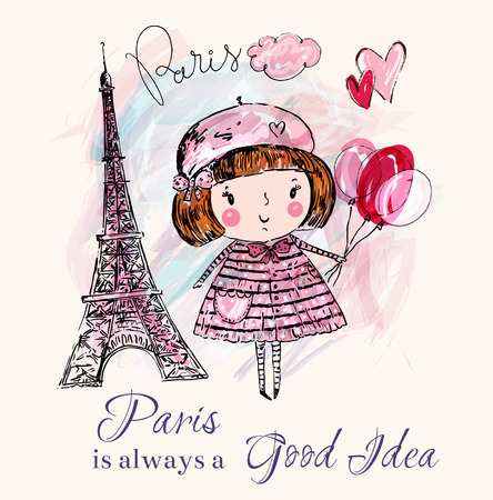 Little girl in Paris. Vector hand drawn illustration with Eiffel tower