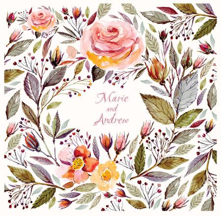 水彩花の花輪の結婚式招待状のテンプレート  イラスト・ベクター素材