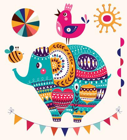 ELEFANTE: Ilustración del vector en estilo de dibujos animados. Elefante lindo precioso. Tarjeta de nacimiento del bebé con el elefante