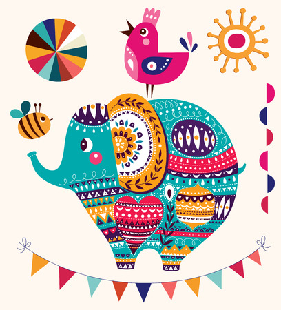 circus animal: Vector illustration in cartoon style. Lovely cute Elephant. Baby birth card with Elephant Illustration
