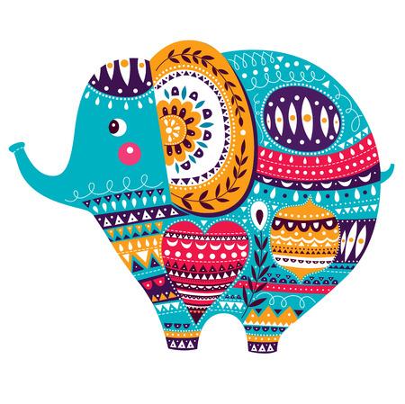 nacimiento: Ilustración del vector en estilo de dibujos animados. Elefante lindo precioso. Tarjeta de nacimiento del bebé con el elefante