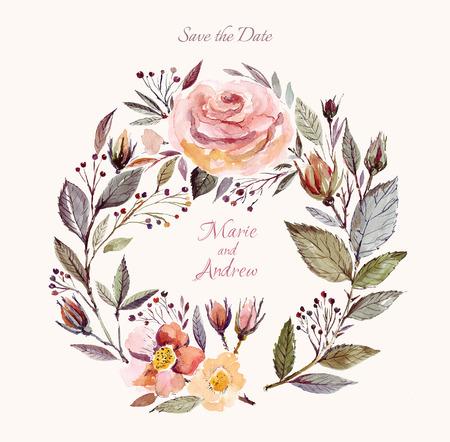 Hochzeitseinladungsschablone mit Aquarell Blumenkranz. Schöne Rosen und Blätter