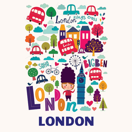 landmark: Vector pattern with London symbols