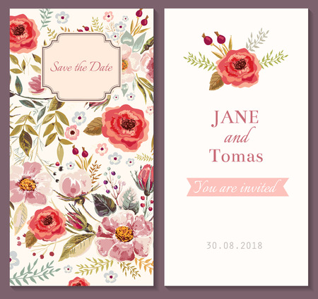 Wedding invitation template with watercolor floral wreath royalty vector wedding invitation template vector stopboris Images