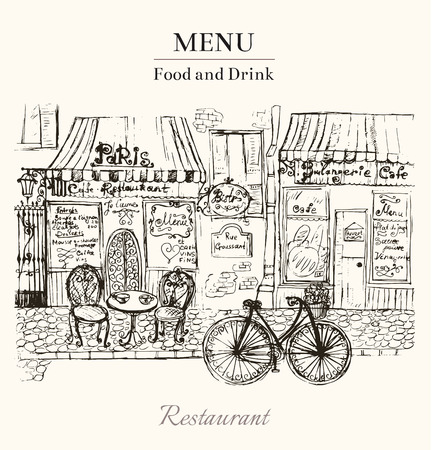 파리의 카페와 벡터 빈티지 손으로 그린 카드 일러스트