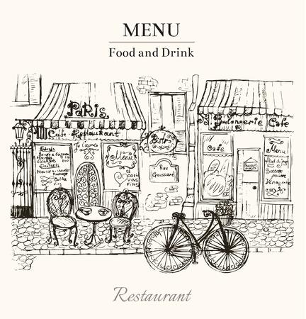 矢量復古手工繪製的卡與巴黎的咖啡館 向量圖像