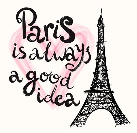 Ilustración drenada mano del vector con la torre Eiffel Foto de archivo - 44083583