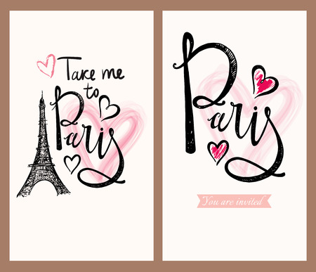 paris: Vector hand drawn illustration with Eiffel tower. Paris.