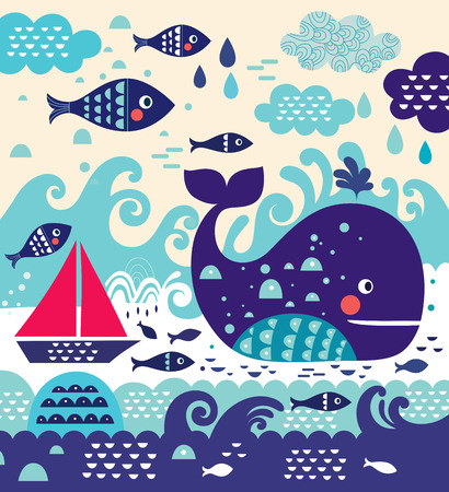 Ilustración vectorial de dibujos animados con la ballena y el pescado y el velero Foto de archivo - 44083594