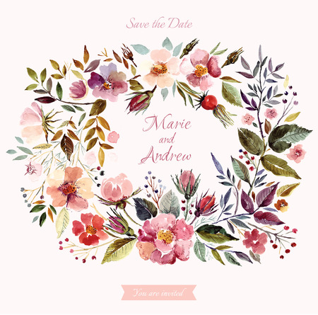 Wedding invitation template with watercolor floral wreath. Beautiful roses and leaves Ilustração