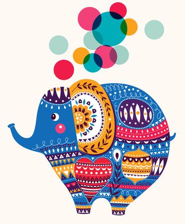auguri di buon compleanno: Illustrazione vettoriale in stile cartone animato. Bella elefante carino. Carta di nascita del bambino con Elephant