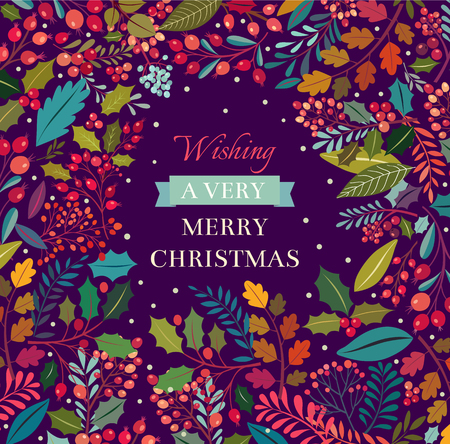 Christmas floral background with text Banco de Imagens - 44556045