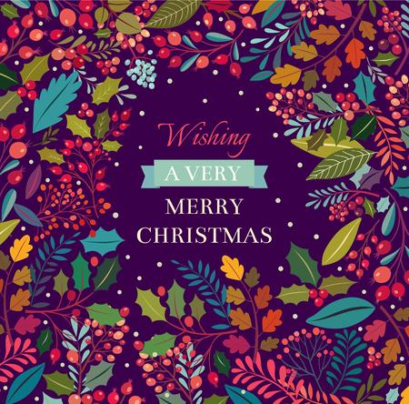 Noël fond floral avec du texte Banque d'images - 44556045