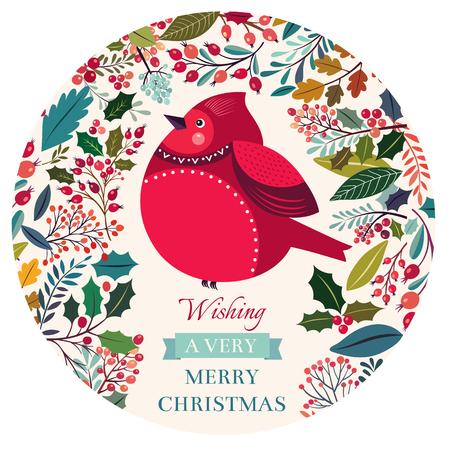 christmas flower: Vector hand drawn floral pattern with bullfinch Illustration