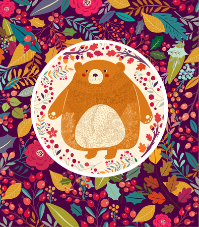 autumn garden: Hand drawn floral background with bear Illustration
