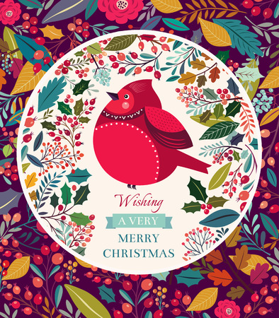 Christmas floral background with bullfinch