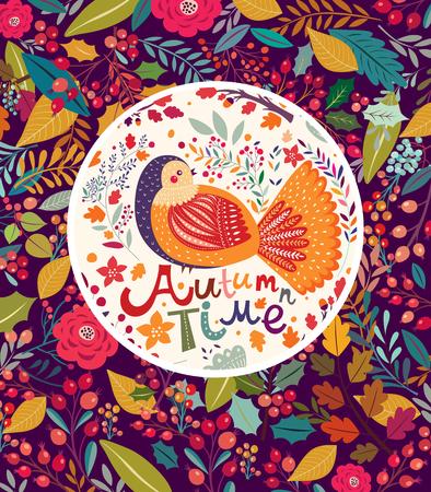 botanical gardens: Hand drawn floral background with bird Illustration