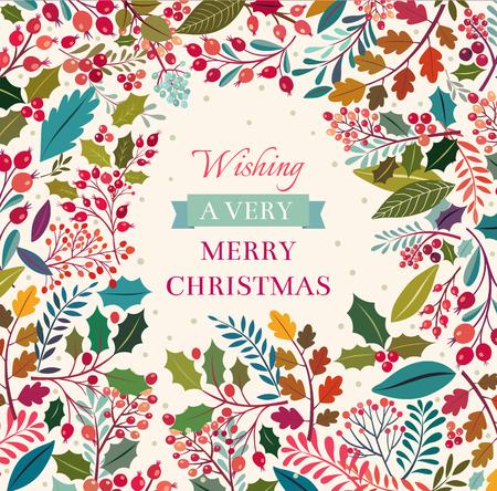 聖誕花卉背景與文本 向量圖像