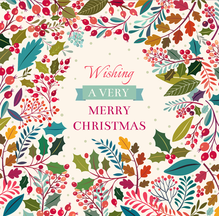 retro christmas: Christmas floral background with text