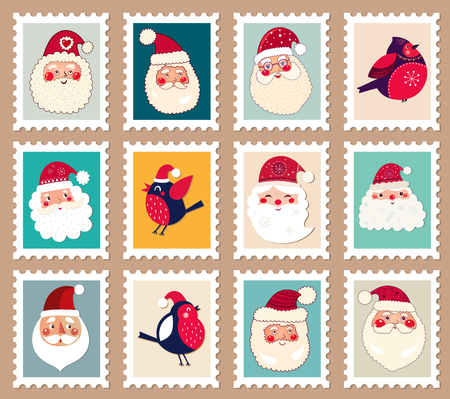 Christmas beautiful cheerful cute stamp with Santas and birds