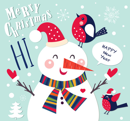 Cartolina di Natale allegro con pupazzo di neve Archivio Fotografico - 46576672